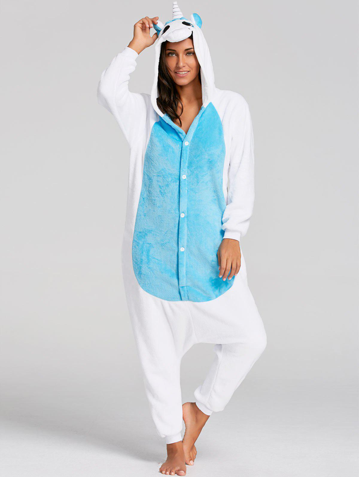 unicorn animal christmas onesie pajama for adult blue m