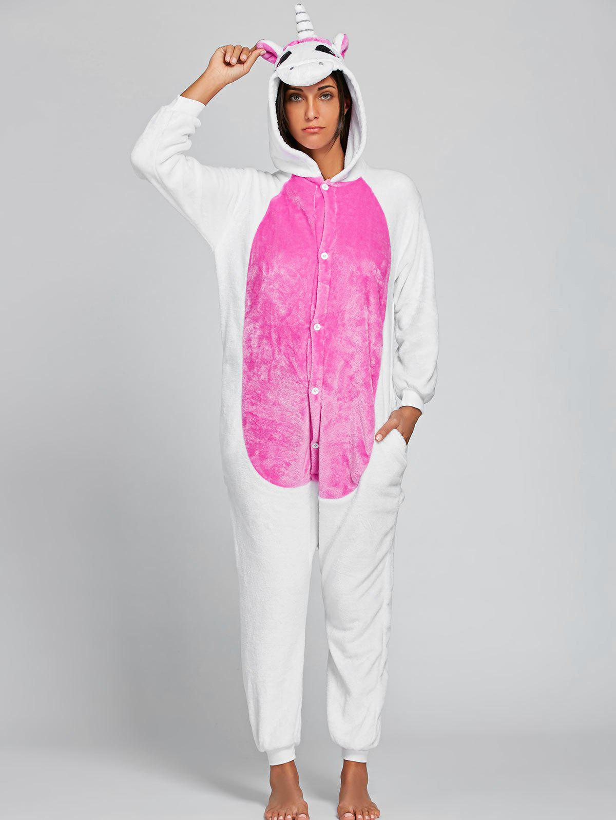 2018 Nice Unicorn Animal Onesie Pajama for Adult PINK S In ...