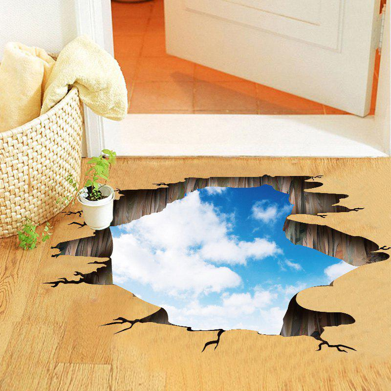 Blue Sky and White Cloud Pattern PVC 3D Removable Floor Wall Sticker stylish blue sky and white cloud pattern removeable 3d wall sticker home decoration