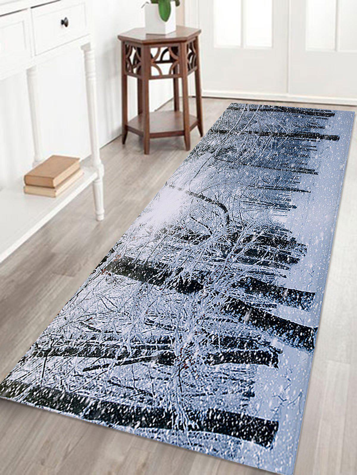 Christmas Snow Forest Printed Coral Fleece Skidproof Bath Rug