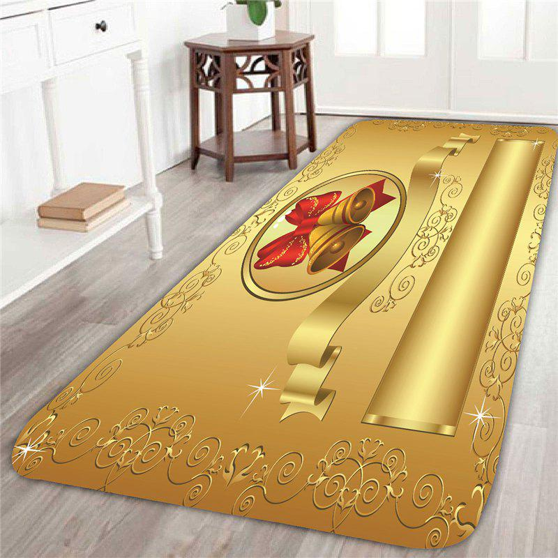 Home Decor Golden Christmas Bell Pattern Skidproof Rug cka1012 christmas bell snowflake bow pattern bedroom decorative sticker red golden white