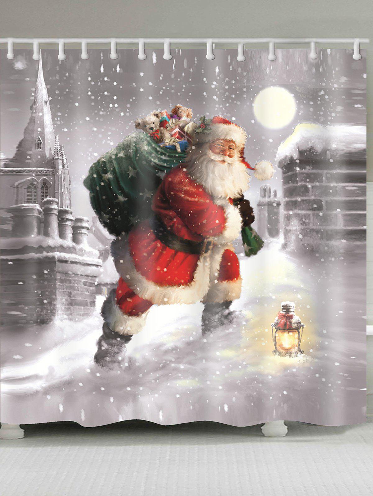 Snow and Santa Claus Printed Waterproof Shower Curtain snow and santa claus printed waterproof shower curtain