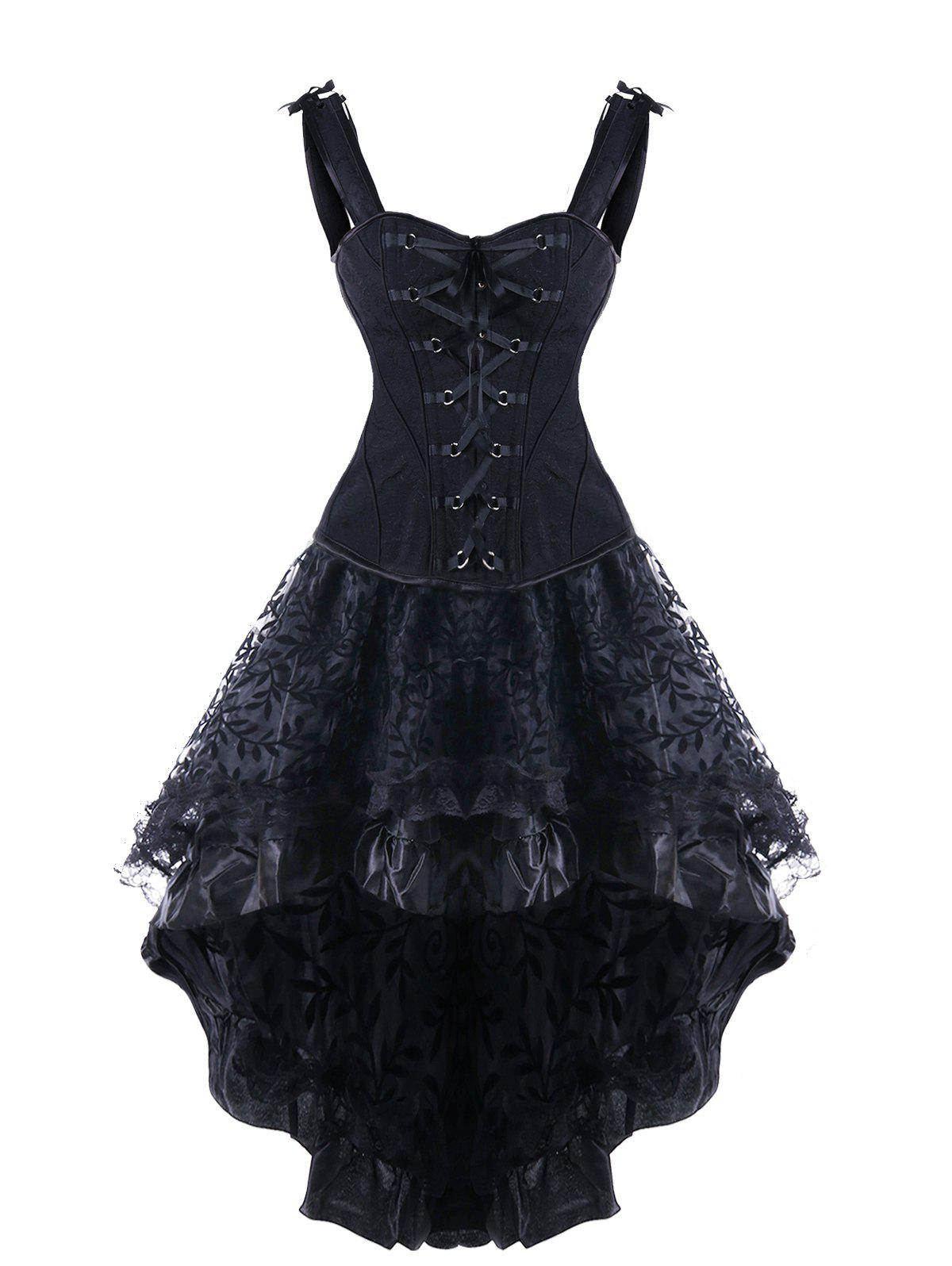 Steel Boned High Low Lace Up Corset Dress - BLACK M