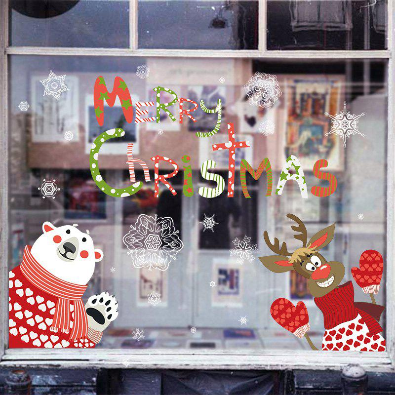 Christmas Animals Pattern Wall Art Stickers - COLORMIX 60*90CM
