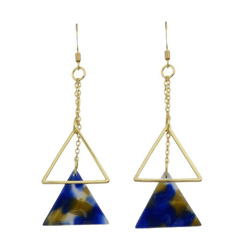Alloy Chain Triangle Hook Earrings - BLUE