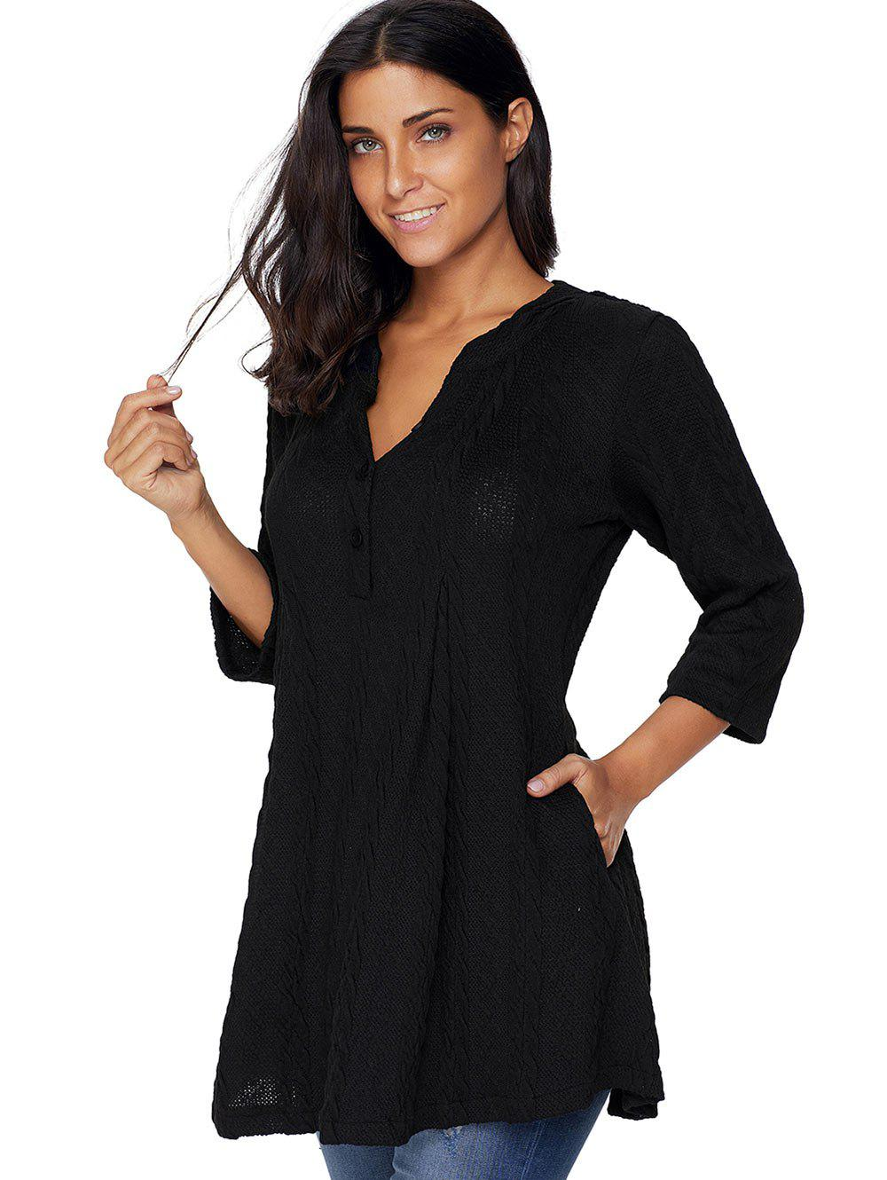 2018 V Neck Cable Knitted Tunic Sweater BLACK M In ...