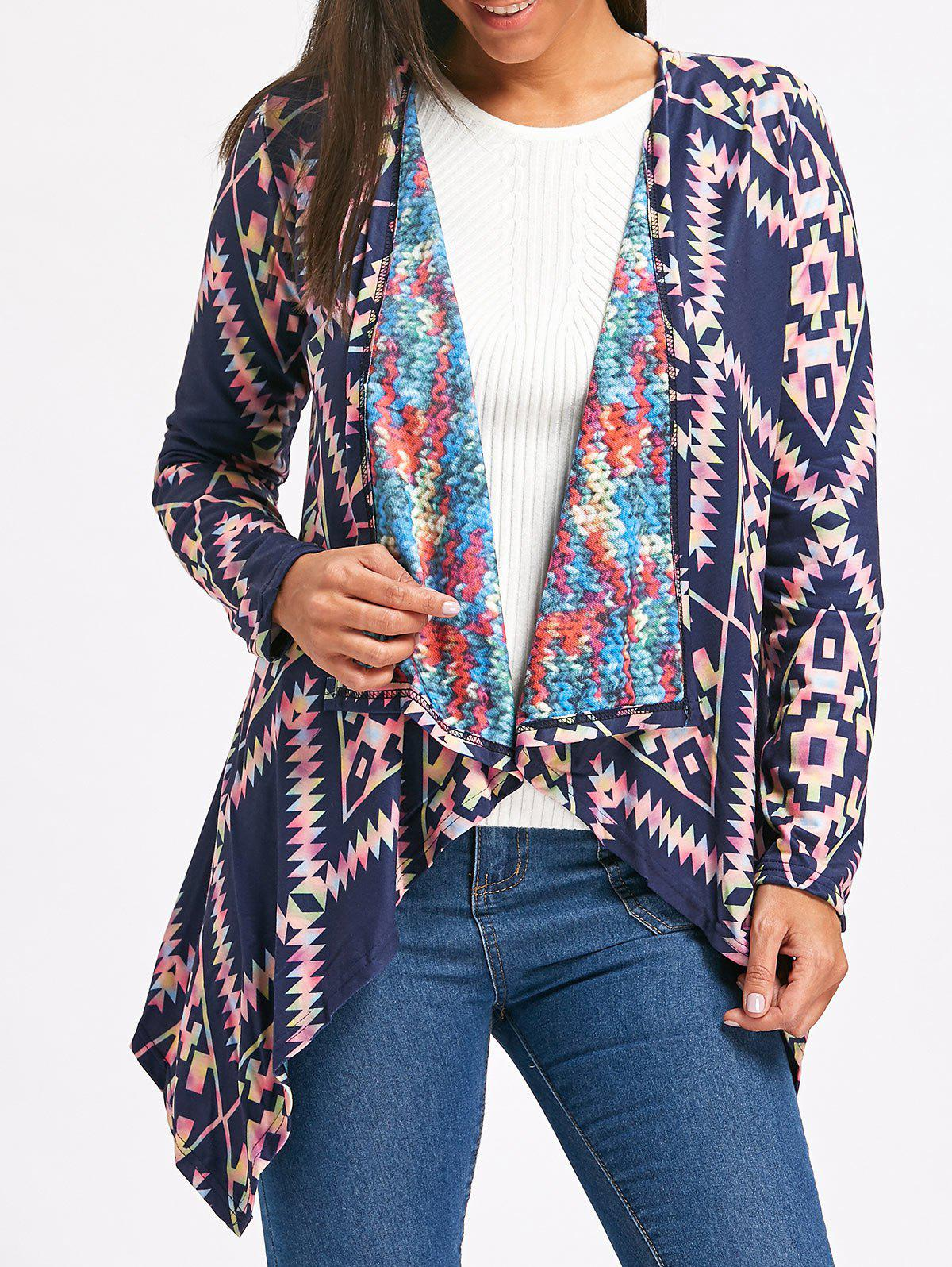 Retro Style Long Sleeve Collarless Ethnic Print Loose-Fitting Women's Cardigan - PURPLISH BLUE M