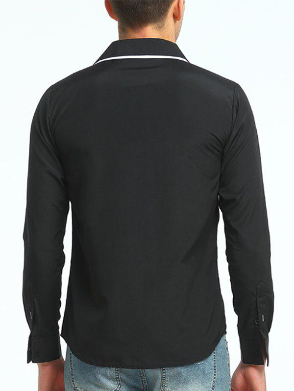 Long Sleeve Stripe Trim Layered Collar Shirt - BLACK XL