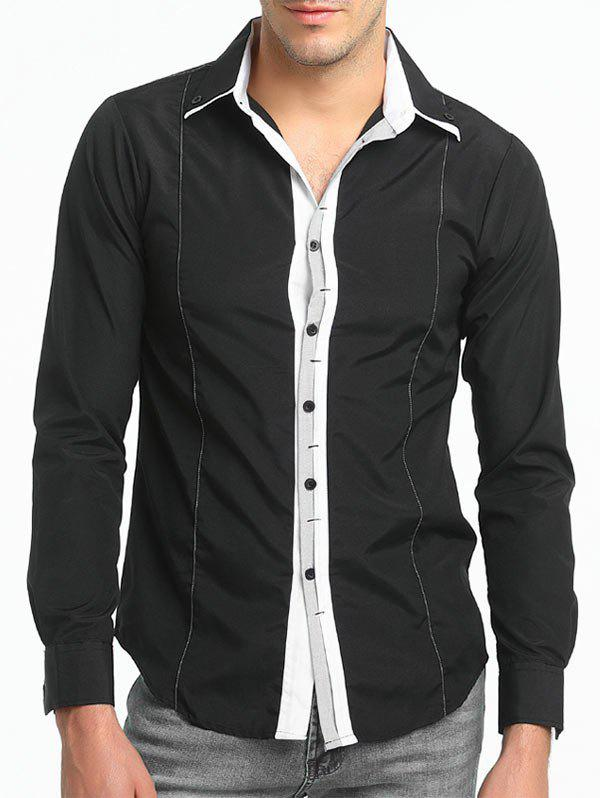 Long Sleeve Stripe Trim Layered Collar Shirt - BLACK M