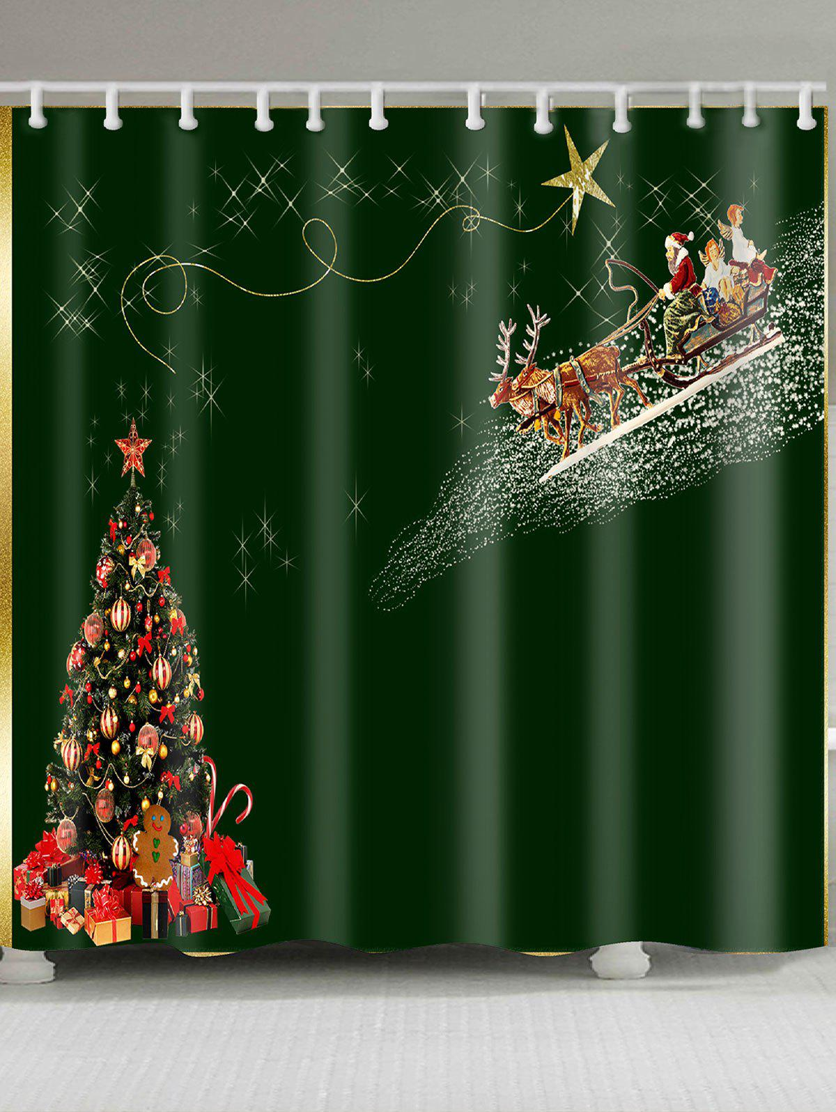 Waterproof Christmas Carriage and Tree Printed Shower Curtain fantasy christmas tree printed waterproof shower curtain