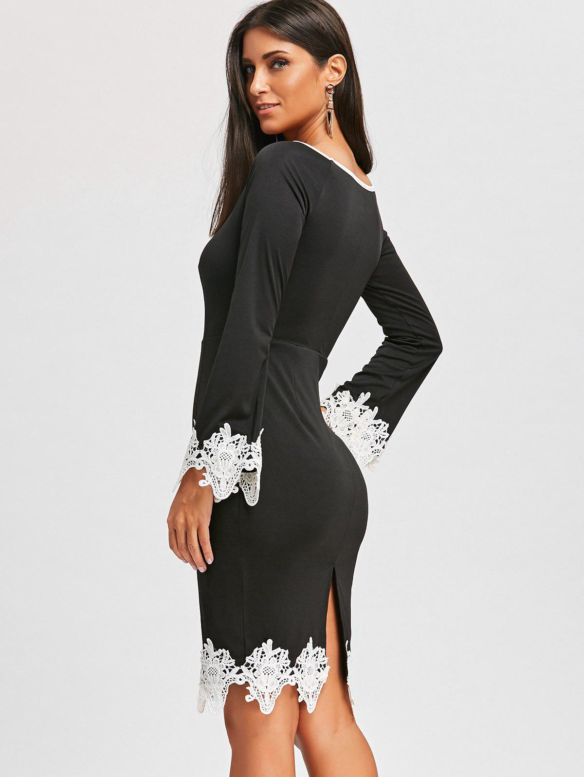 Lace Insert Long Sleeve Pencil Dress - BLACK 2XL