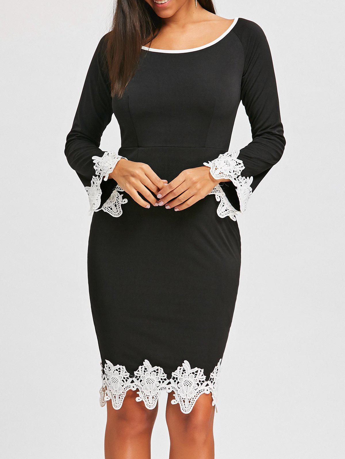 Lace Insert Long Sleeve Pencil Dress long sleeve lace insert mini dress