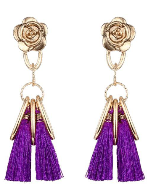 Alloy Vintage Flower Circle Tassel Earrings