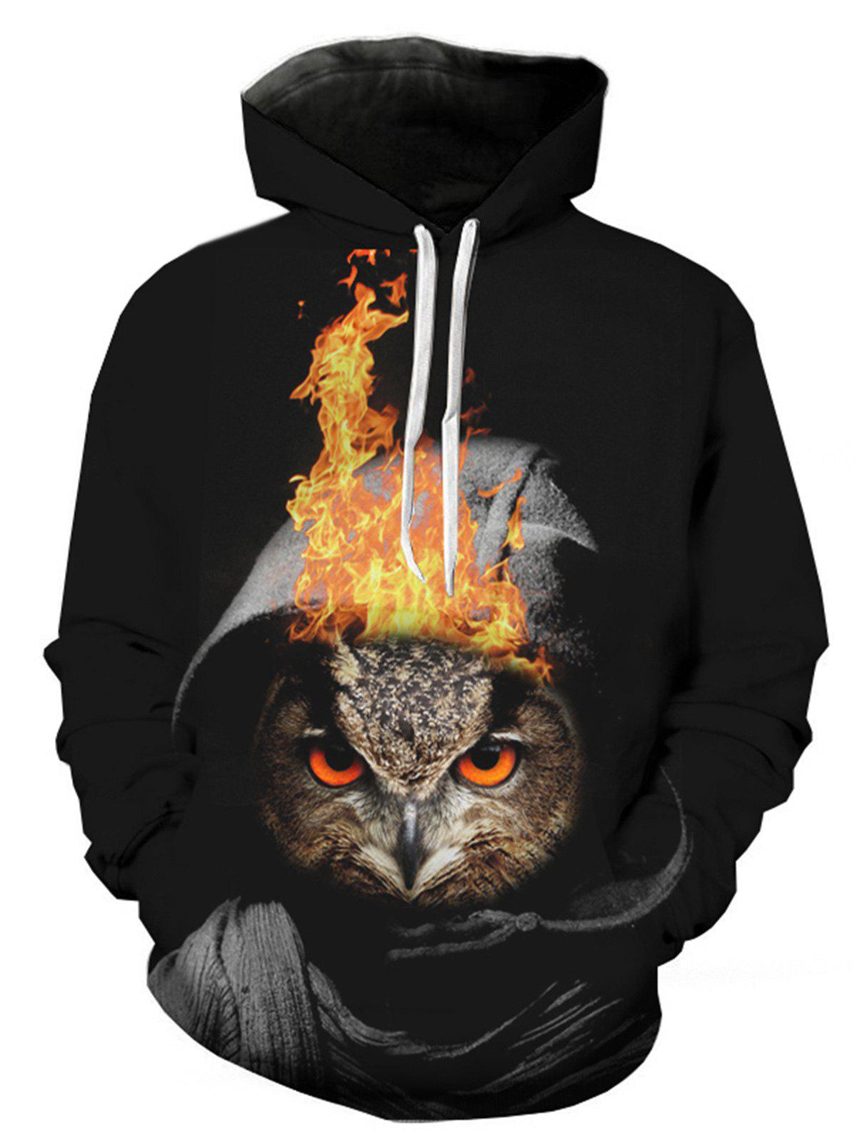Owl Flame 3D Print Pullover Hoodie leopard flame 3d print pullover hoodie
