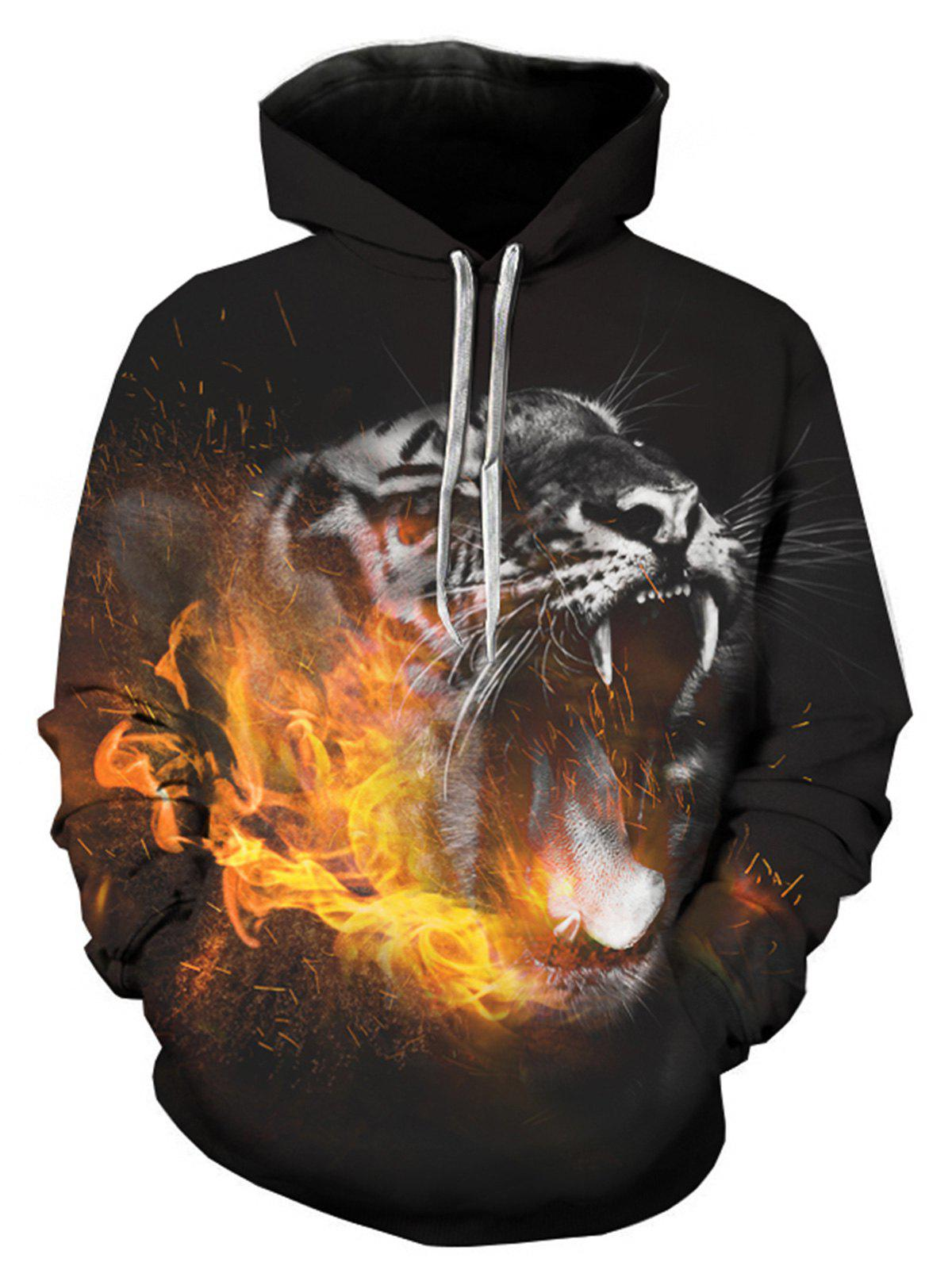 Leopard Flame 3D Print Pullover Hoodie leopard flame 3d print pullover hoodie