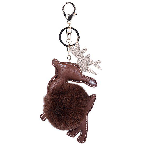 PU Leather Christmas Deer Keychain - ESPRESSO