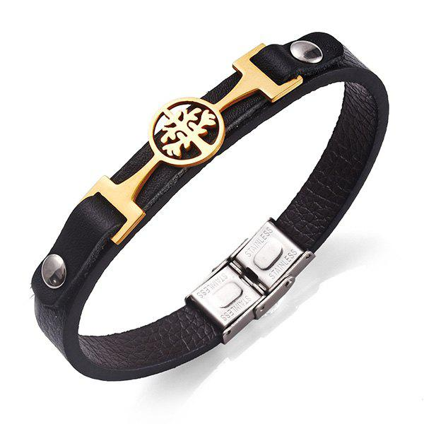Stainless Steel Faux Leather Tree of Life Bracelet - GOLDEN