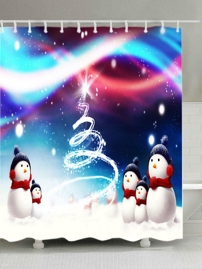 Christmas Snowmen Snowfield Print Waterproof Fabric Shower Curtain christmas snowy santa sleigh print fabric waterproof shower curtain