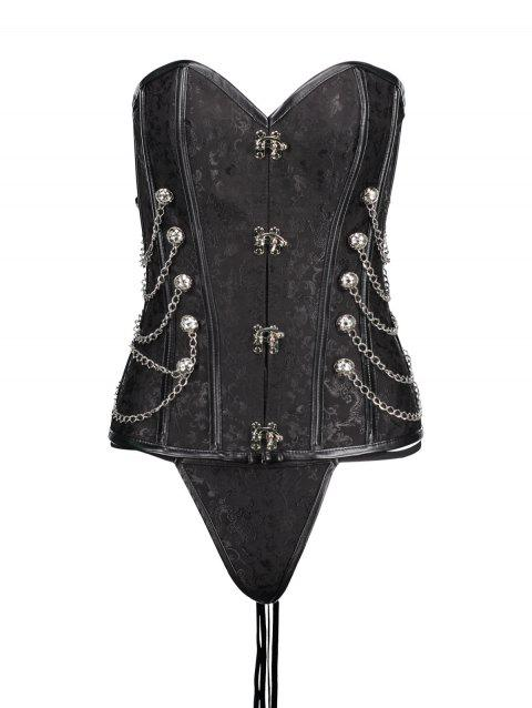 Lace Up Chians  Steel Boned Punk Corset Top - BLACK XL