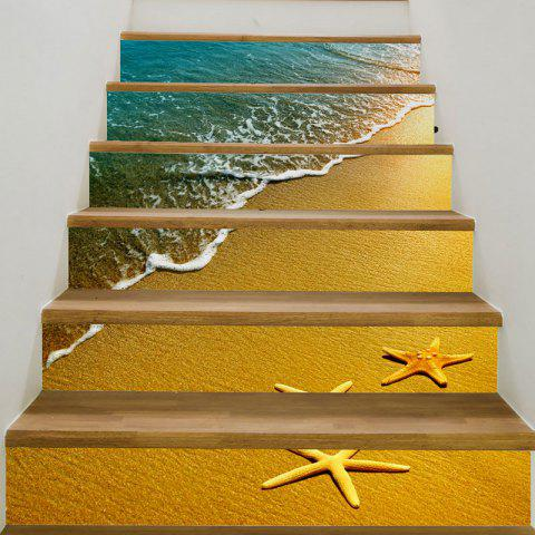 3D Beach Waves Starfish Patterned Stair Stickers - GINGER 6PCS:39*7 INCH( NO FRAME )