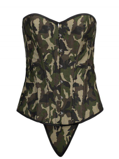 Lace Up Steel Boned Camo Overbust Corset Top - ACU CAMOUFLAGE S