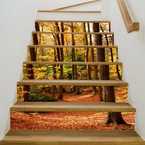 3D Maples Forest Printed Stair Stickers - COLORFUL 6PCS:39*7 INCH( NO FRAME )