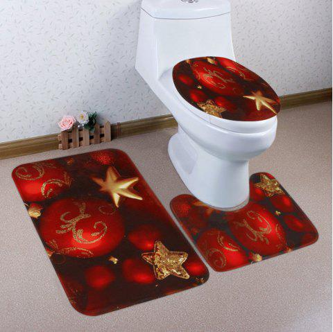 Christmas Baubles Star Pattern 3 Pcs Bathroom Toilet Mat - RED