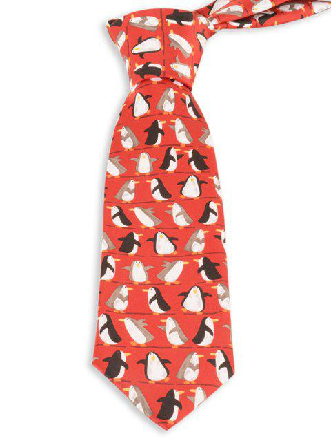 8.5CM Width Funny Penguin Pattern Christmas Neck Tie - RED