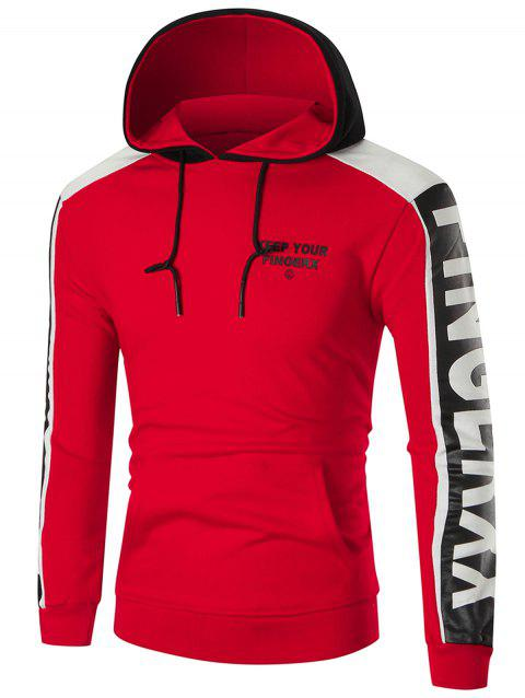 Color Block Sports Graphic Hoodie - RED L