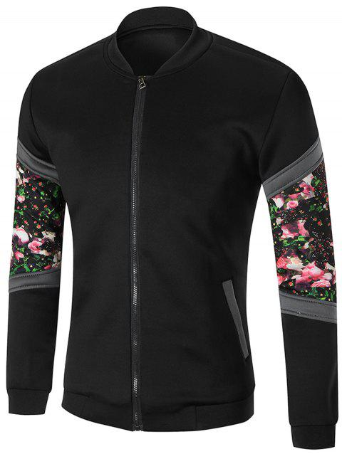 Flower Printed Zip Up Jacket