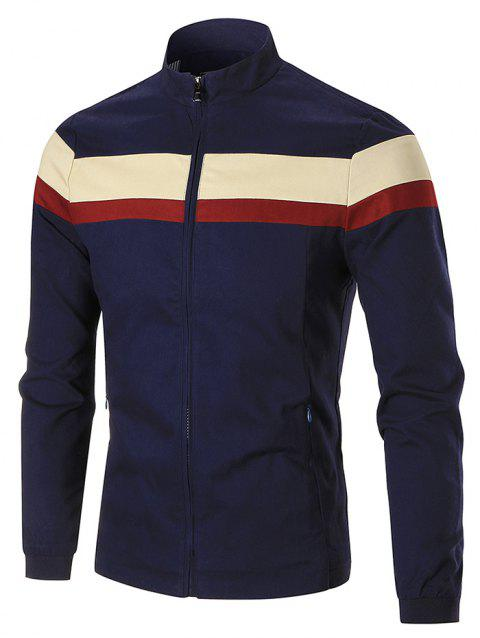 Stand Collar Color Blocked Jacket - BLUE 5XL