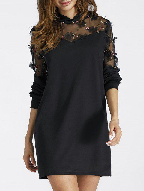 Embroidered Sheer Lace Panel Mini Hoodie Dress - BLACK S