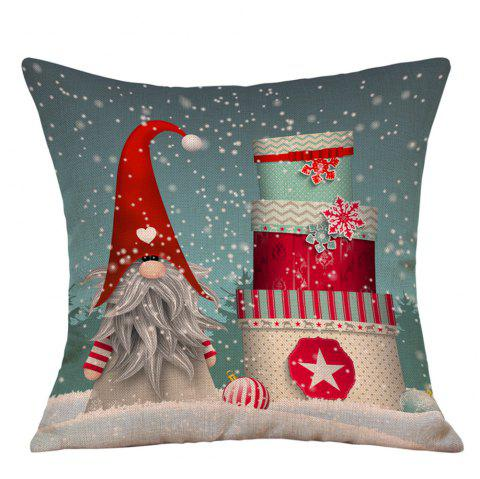 Snowy Christmas Gifts Print Linen Pillowcase - COLORMIX W18 INCH * L18 INCH