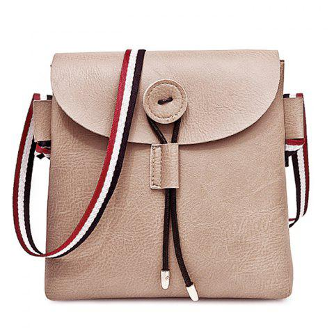 Contrasting Color Striped Faux Leather Crossbody Bag - KHAKI
