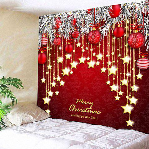 Christmas Ball and Star Print Wall Hanging Tapestry - RED W79 INCH * L59 INCH