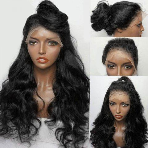 Long Free Part Fluffy Wavy Synthetic Lace Front Wig - NATURAL BLACK
