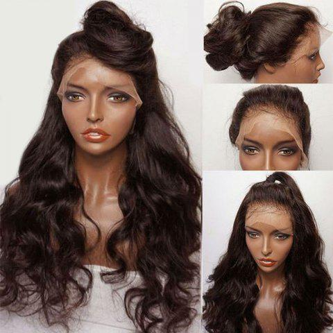 Long Free Part Fluffy Wavy Synthetic Lace Front Wig - DEEP BROWN