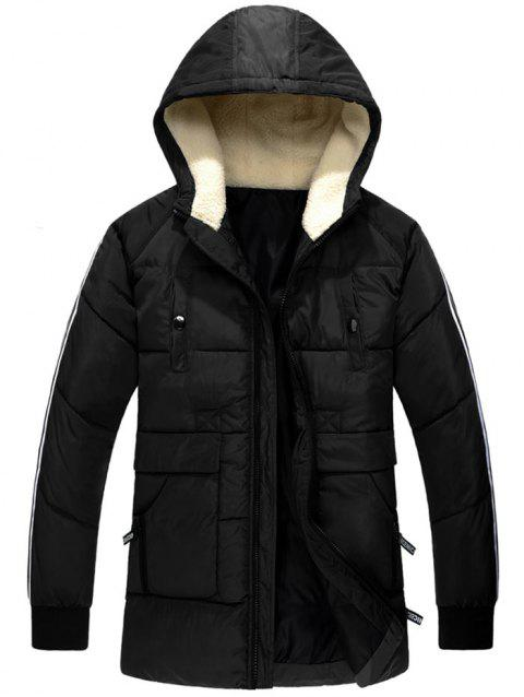 Side Stripe Zipper Up Hooded Padded Coat - BLACK L