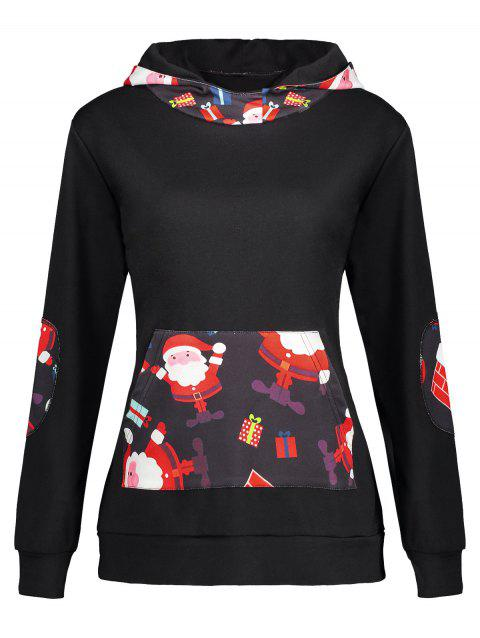 Christmas Elbow Patch Santa Claus Print Hoodie - BLACK M