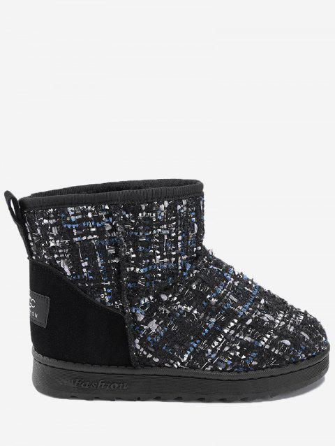 Suede Panel Winter Snow Ankle Boots - BLACK 38