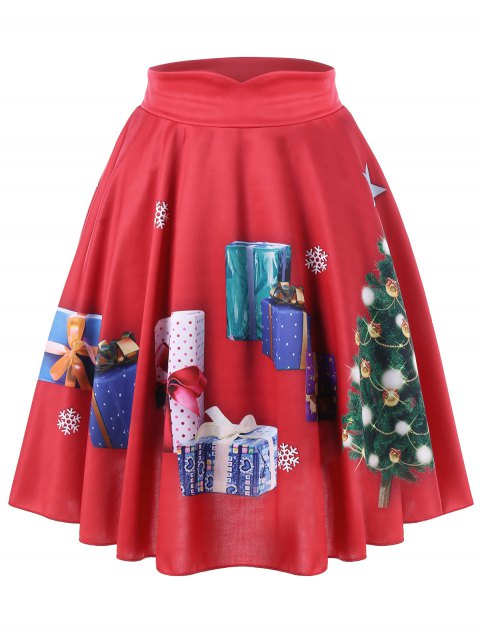 Plus Size Christmas Tree and Gift Print Midi Skirt - RED XL