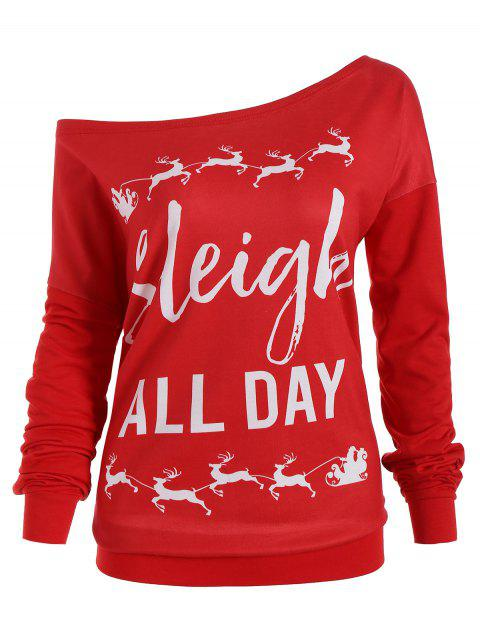 Christmas Plus Size Elk Sleigh All Day Sweatshirt - RED XL