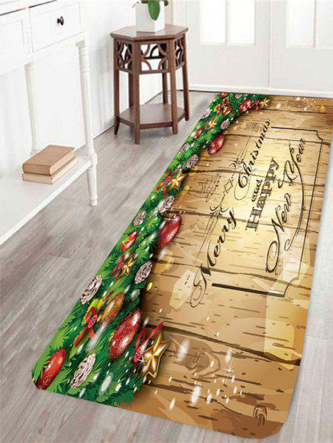 Merry Christmas Wood Printed Antislip Rug - LIGHT YELLOW W24 INCH * L71 INCH