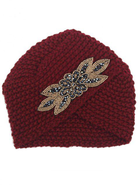 Vintage Artifical Gem Decorated Overlapping Knitted Beanie Hat - DARK RED