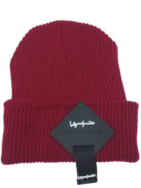 Square Letter Label Embellished Crochet Knitted Beanie - WINE RED