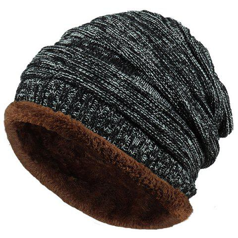 Velvet Colormix Pattern Crochet Knitted Slouchy Beanie - BLACK