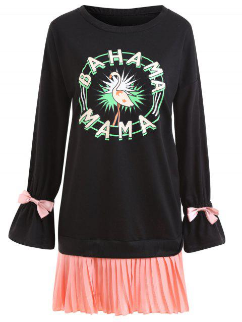 Plus Size Tropical Graphic Pleated Panel Tunic Sweatshirt - BLACK 4XL
