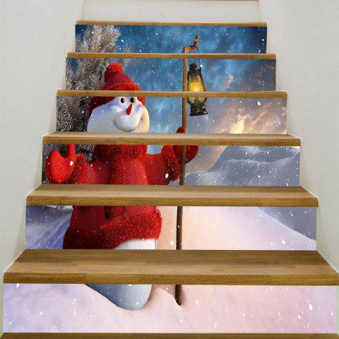 Decorative Christmas Snowman Lighting Printed Stair Stickers - COLORFUL 6PCS:39*7 INCH( NO FRAME )