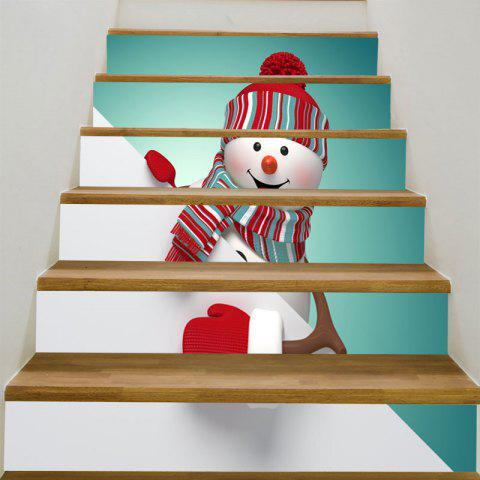 Decorative Red Hat Christmas Snowman Pattern Stair Stickers - COLORFUL 6PCS:39*7 INCH( NO FRAME )