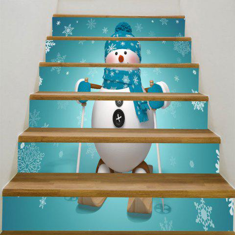 Decorative Skiing Christmas Snowman Pattern Stair Stickers - BLUE GREEN 6PCS:39*7 INCH( NO FRAME )